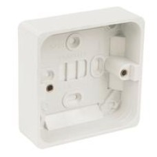 16MM INTERNAL DEEP 19MM EXTERNAL DEEP SINGLE 1 GANG SURFACE MOUNT WHITE BACK BOX