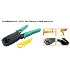 DataPro CRIMPING TOOL FOR RJ45 & RJ11 & RJ12 NETWORK PLUGS WITH STRIPPING TOOL RETAIL