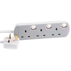 NEW DataPro 3 Way Gang Individually Switched UK Mains Extension Lead White 1m