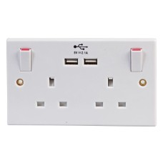 2 GANG SWITCHED SOCKET WITH USB CHARGER CAPABILITY